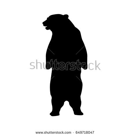 Bear On Hind Legs Silhouette.