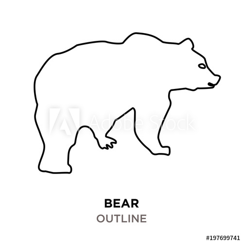 bear outline clipart on white background.
