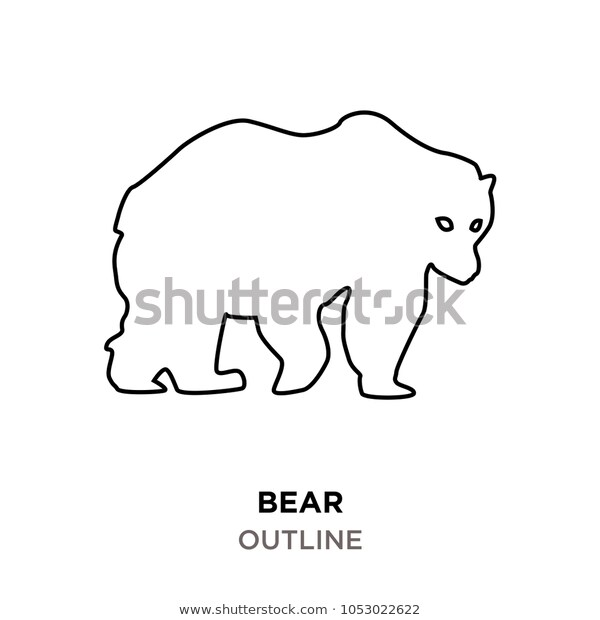 Bear Outline Clipart On White Background Stock Vector (Royalty Free.