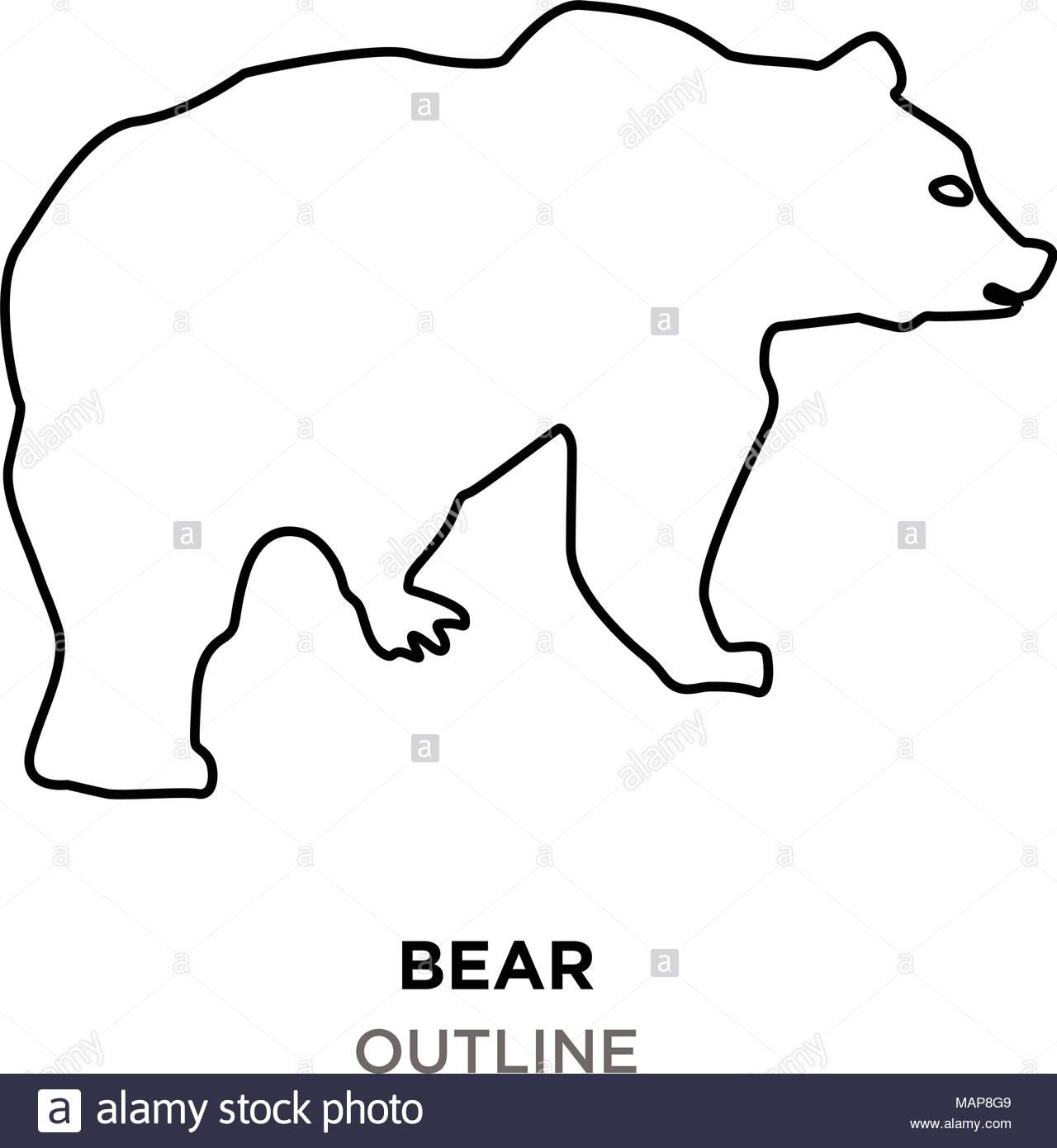 bear outline clipart on white background Stock Vector Art.