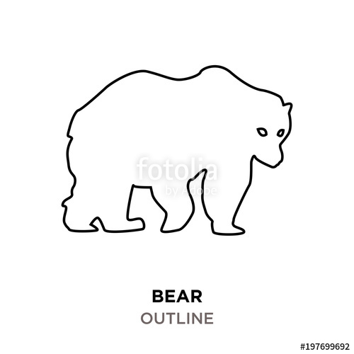 bear outline clipart on white background