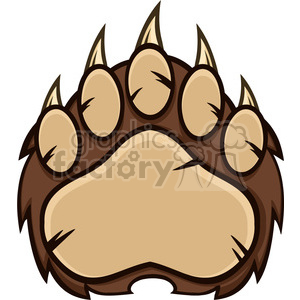 royalty free rf clipart illustration brown bear paw with claws vector  illustration isolated on white . Royalty.