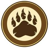 Bear Paw Print Circle Label Design Clipart.