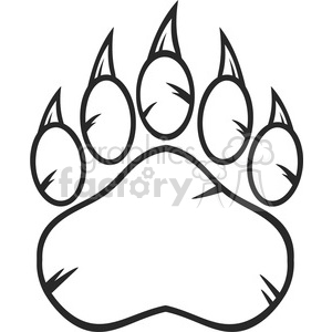 royalty free rf clipart illustration black and white bear paw with claws  vector illustration isolated on white background . Royalty.
