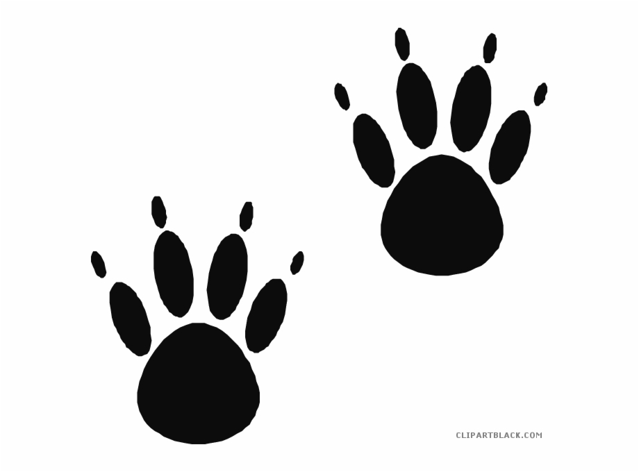 Bear Paw Print Animal Free Black White Clipart Images.