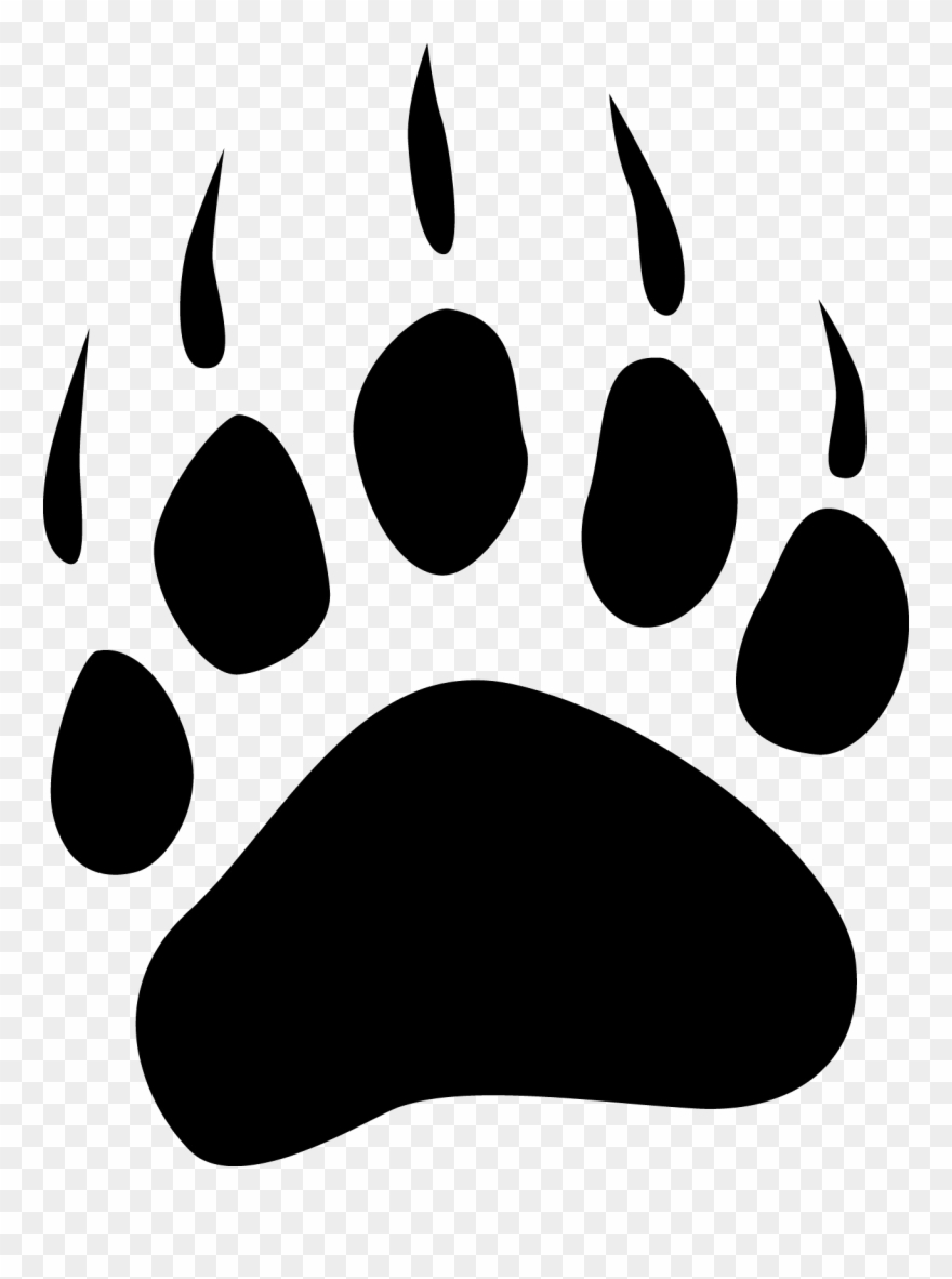Clip Art Grizzly Paw Print Simple Medium.