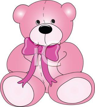 Royalty Free Clip Art Image: Pink Plush Stuffed Teddy Bear.