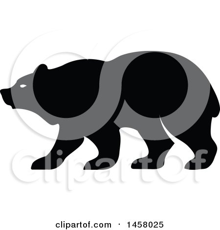 Clipart of a Black and White Bear Mascot in Profile.