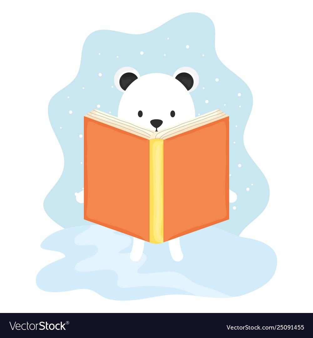 Cute polar bear reading book character.