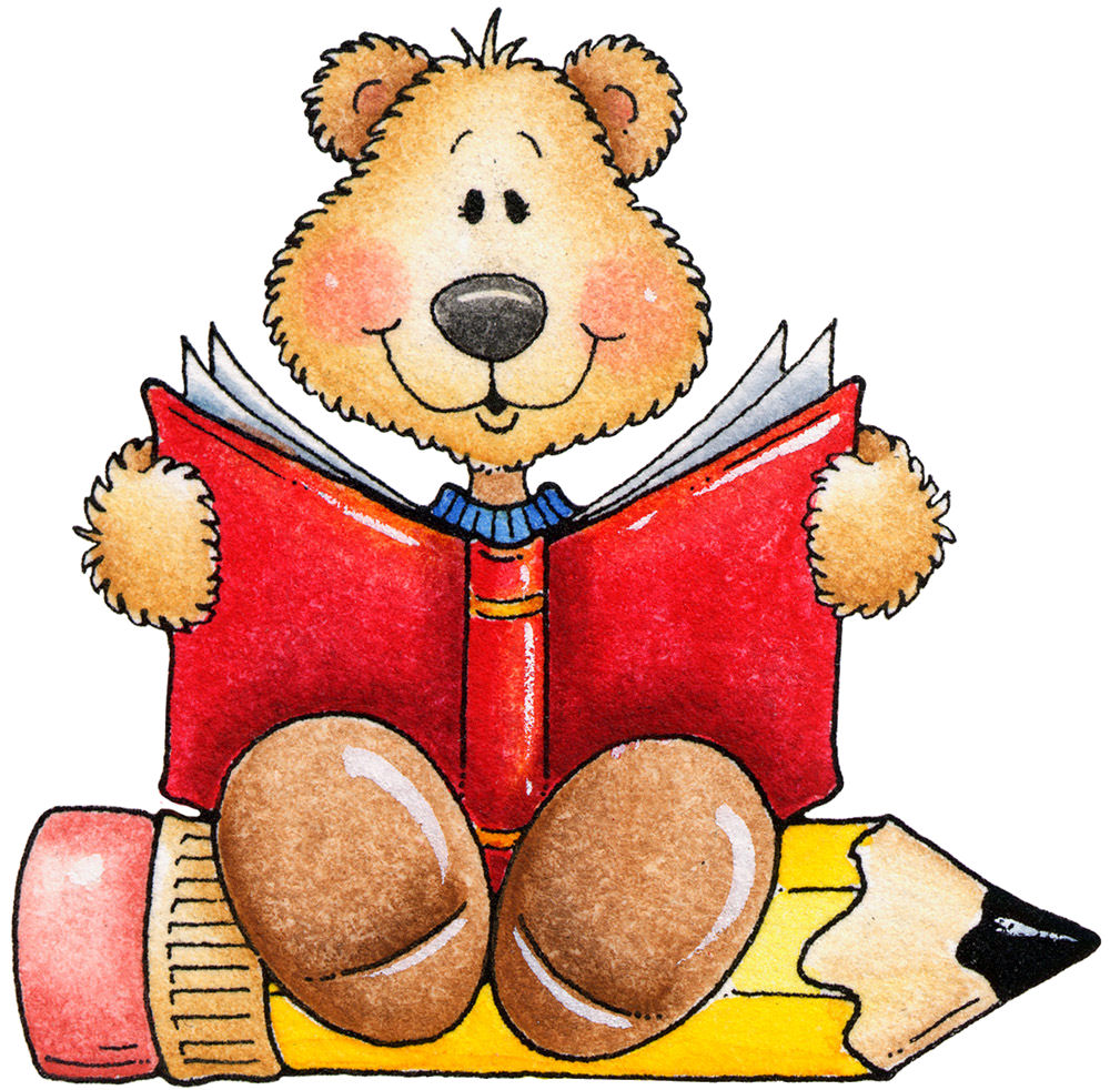 Bear Reading Clipart.