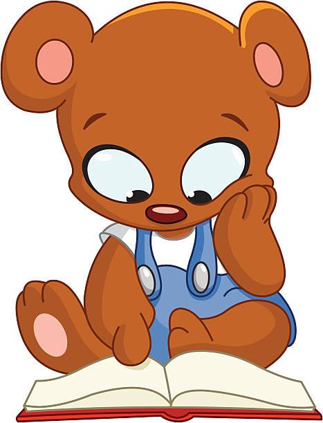 Clip Art Of A Teddy Bear Reading Book Clip Art, Vector Images.