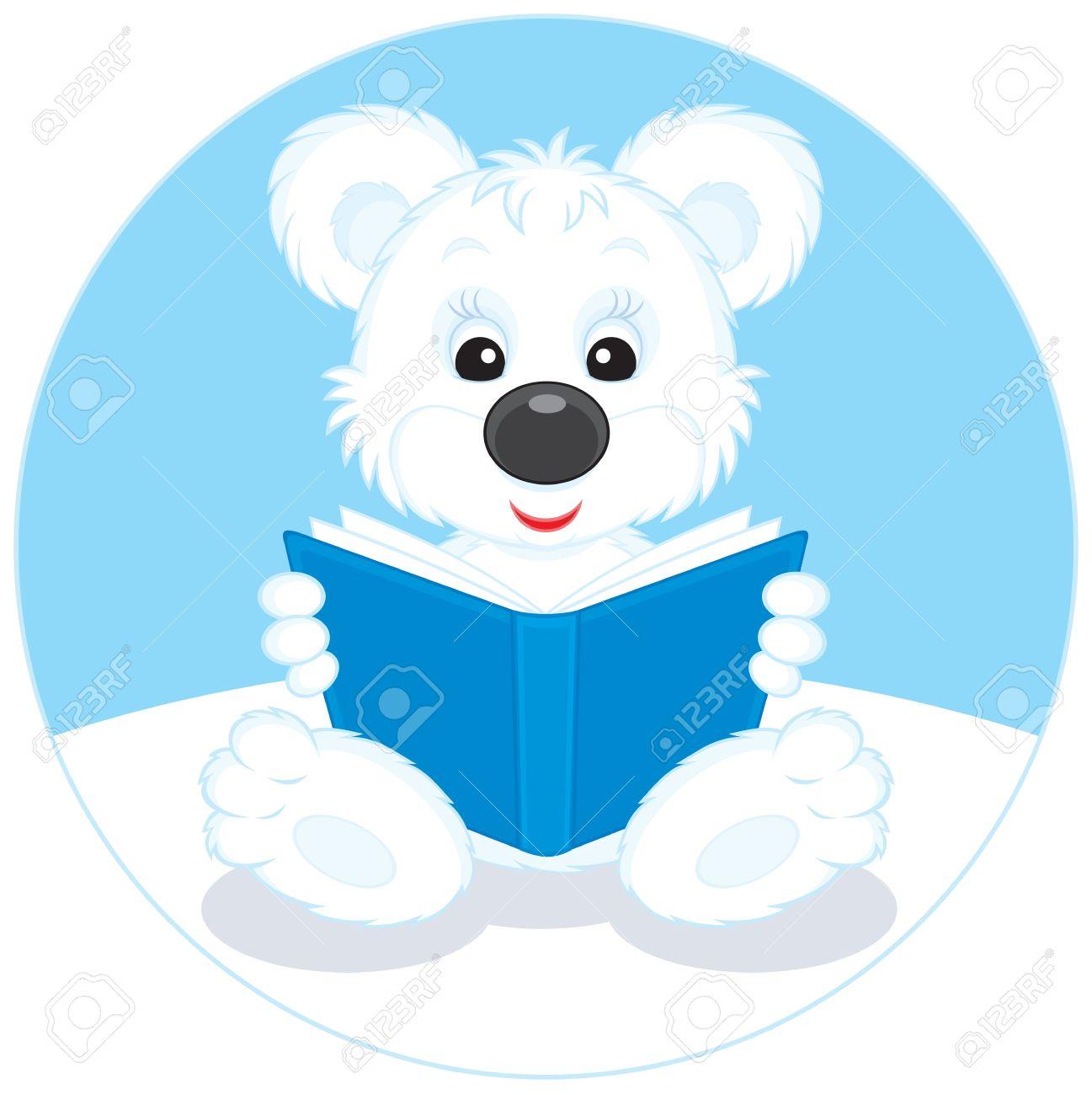 Polar Bear Cub Reading A Blue Book Royalty Free Cliparts, Vectors.