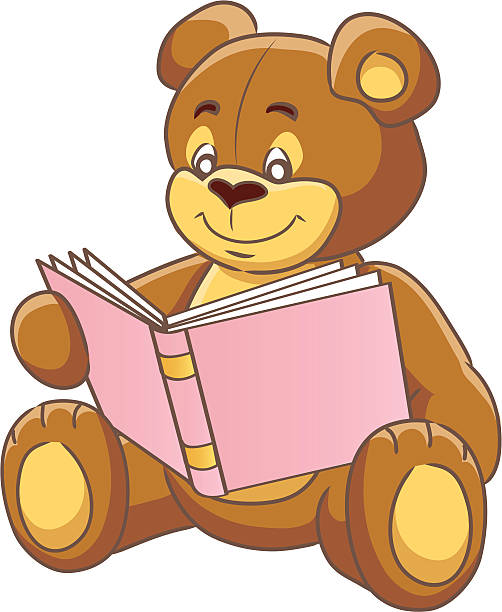 Cartoon Of A Teddy Bear Reading Book Clip Art, Vector Images.