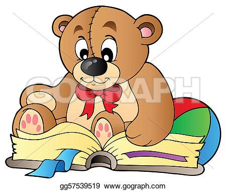 Bear Reading Clip Art.