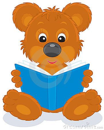 Polar Bear Cub Reading A Book Royalty Free Stock Photo.
