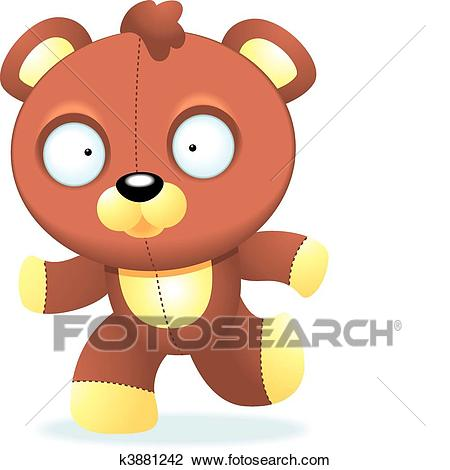 Teddy Bear Running Clipart.