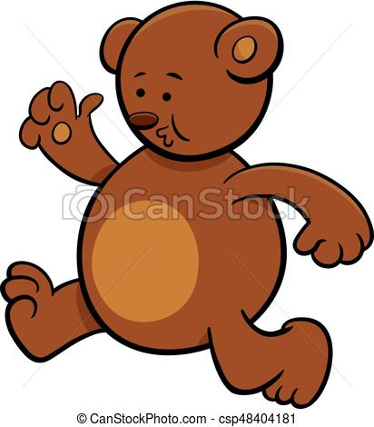 running bear cartoon character.