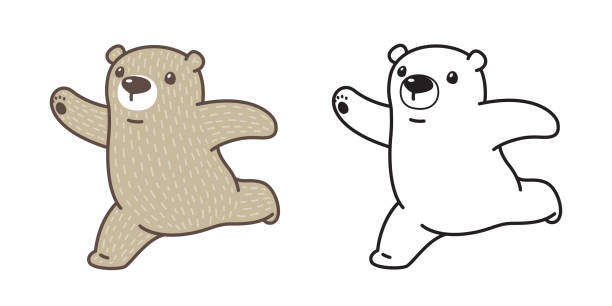 Polar Bear Running Illustrations, Royalty.