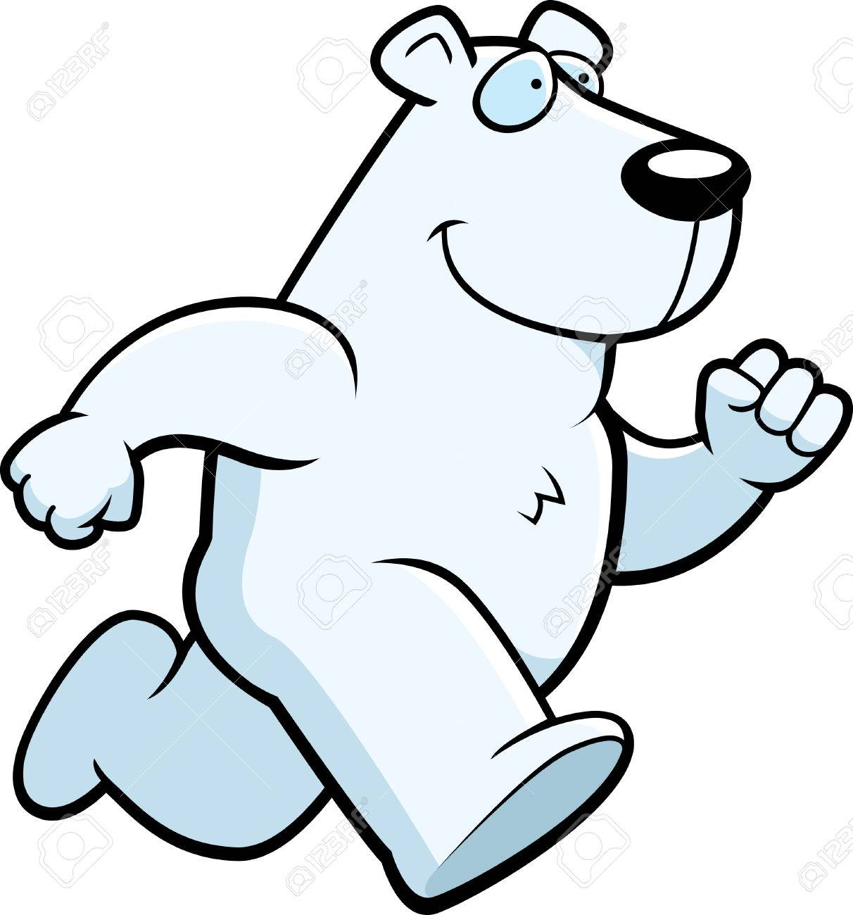 A happy cartoon polar bear running and smiling..