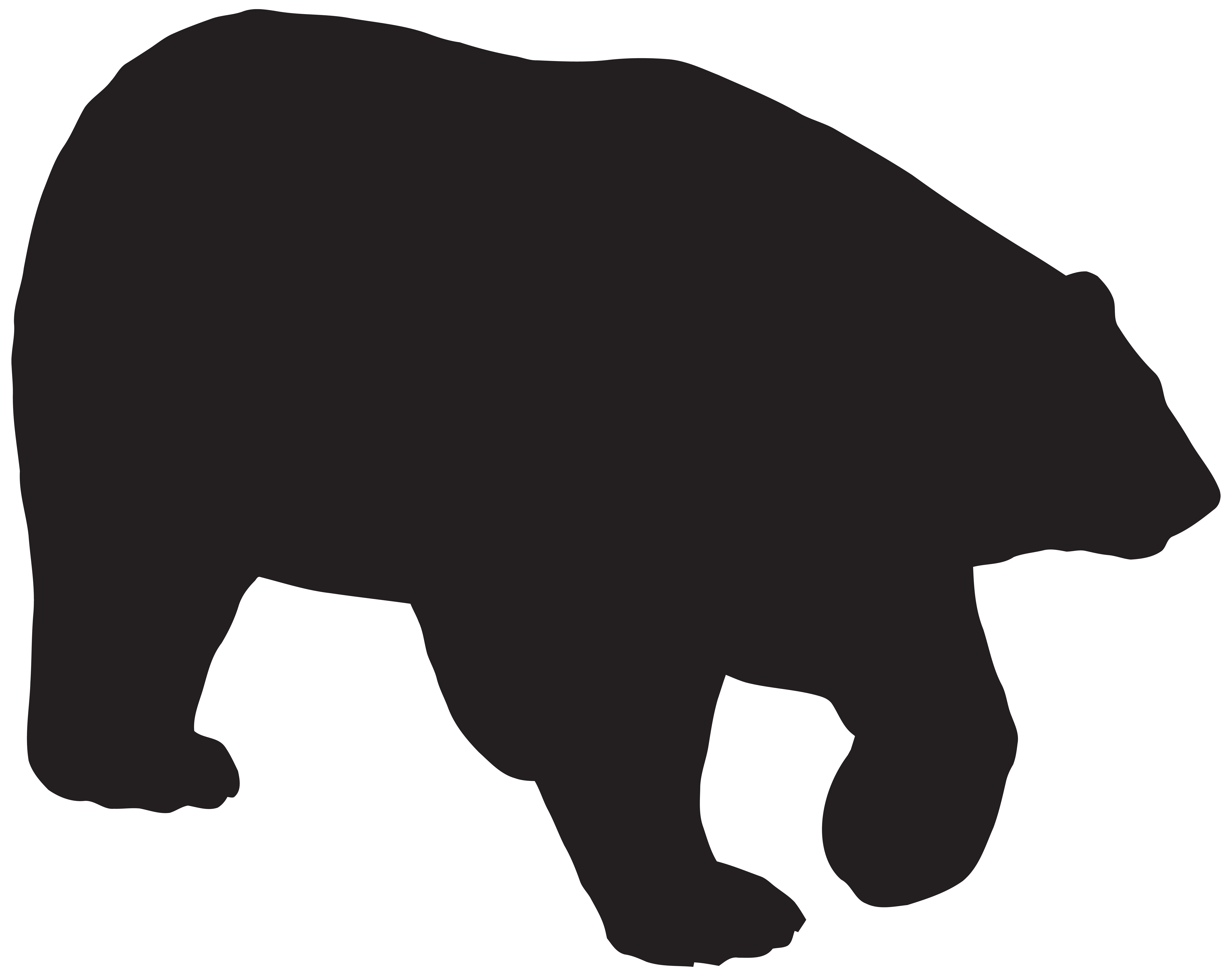 Polar Bear Silhouette PNG Clip Art Image.