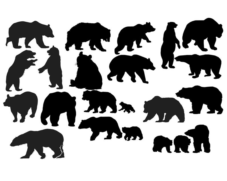 Bear Silhouette, Bear Clipart, Animal Clip Art, Wild animal silhouette,  Bear image, Bear illustration, Bear SVG, Bear DXF Buy 2 Get 1 FREE.