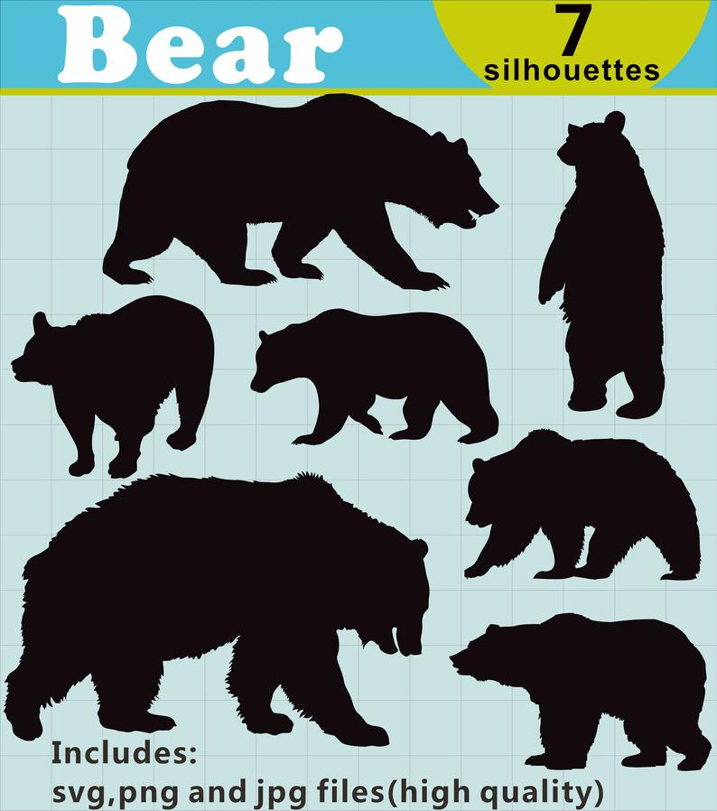 Bear Silhouettes Clipart, Bear Silhouettes, Bear Clipart, Bear SVG File,  Forest Animal Clip Art, Nature Silhouettes, Instant Download.