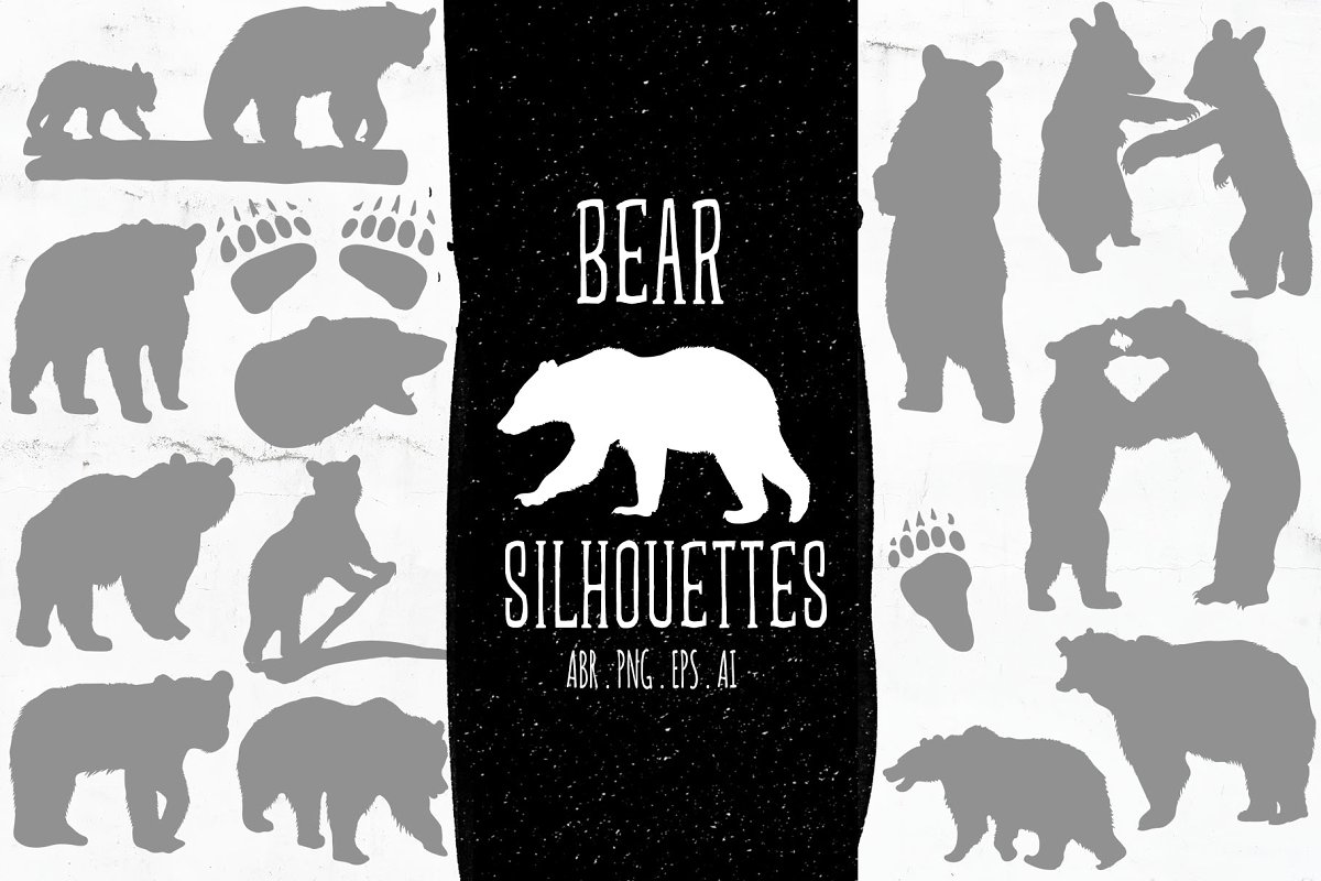 Baby & Mama Bear Silhouettes ~ Illustrations ~ Creative Market.