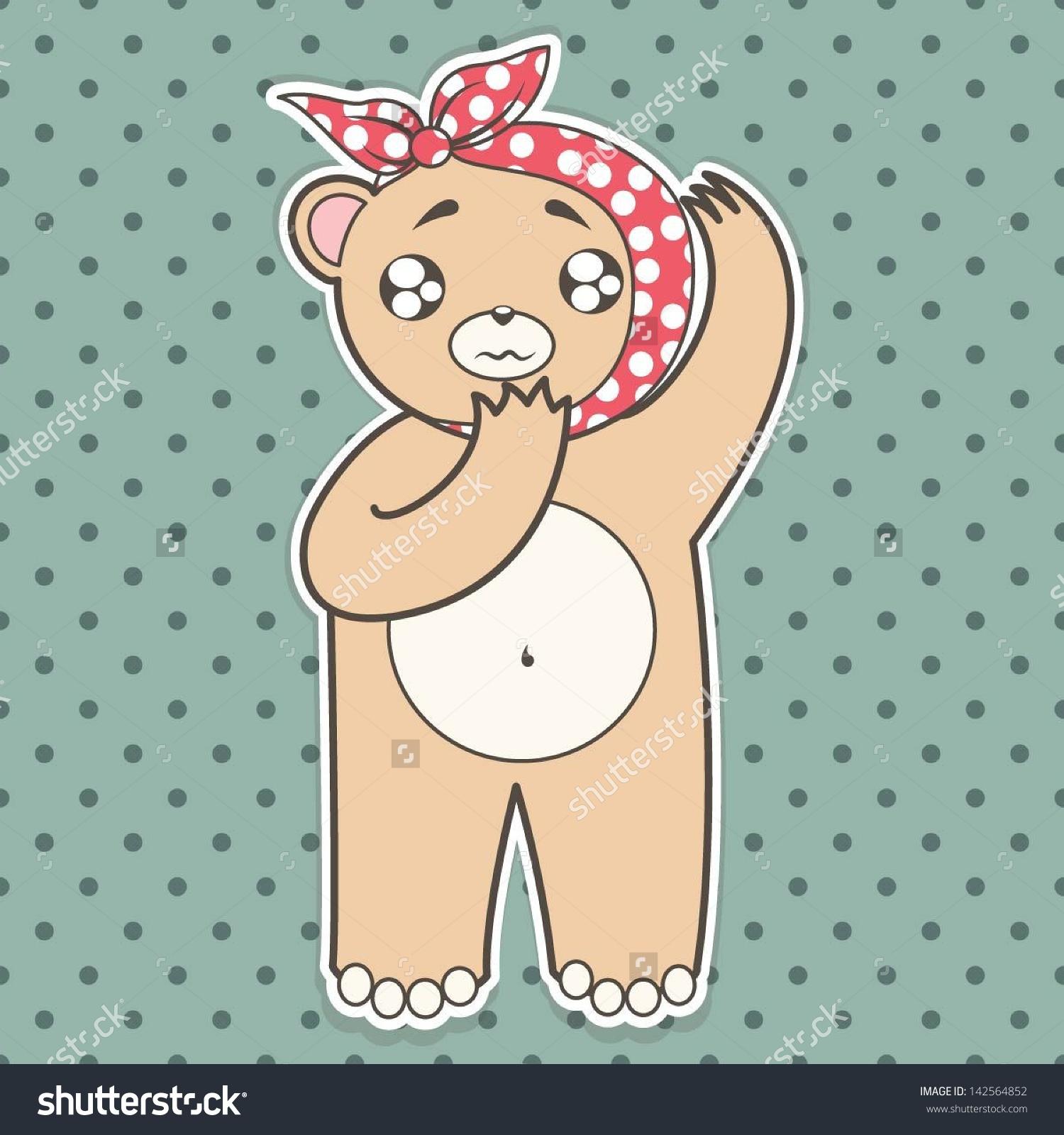 Sick Teddy Bear, Tooth Ache Or Ear Stock Vector Illustration.