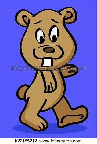 Clipart of Funny Grizzly Bear with Front Tooth Vector Cartoon.