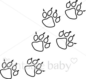 Black and White Bear Tracks Clipart.