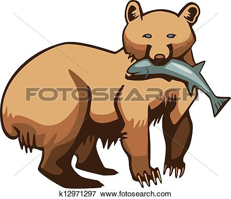 Clip Art of Bear with a fish k12971297.