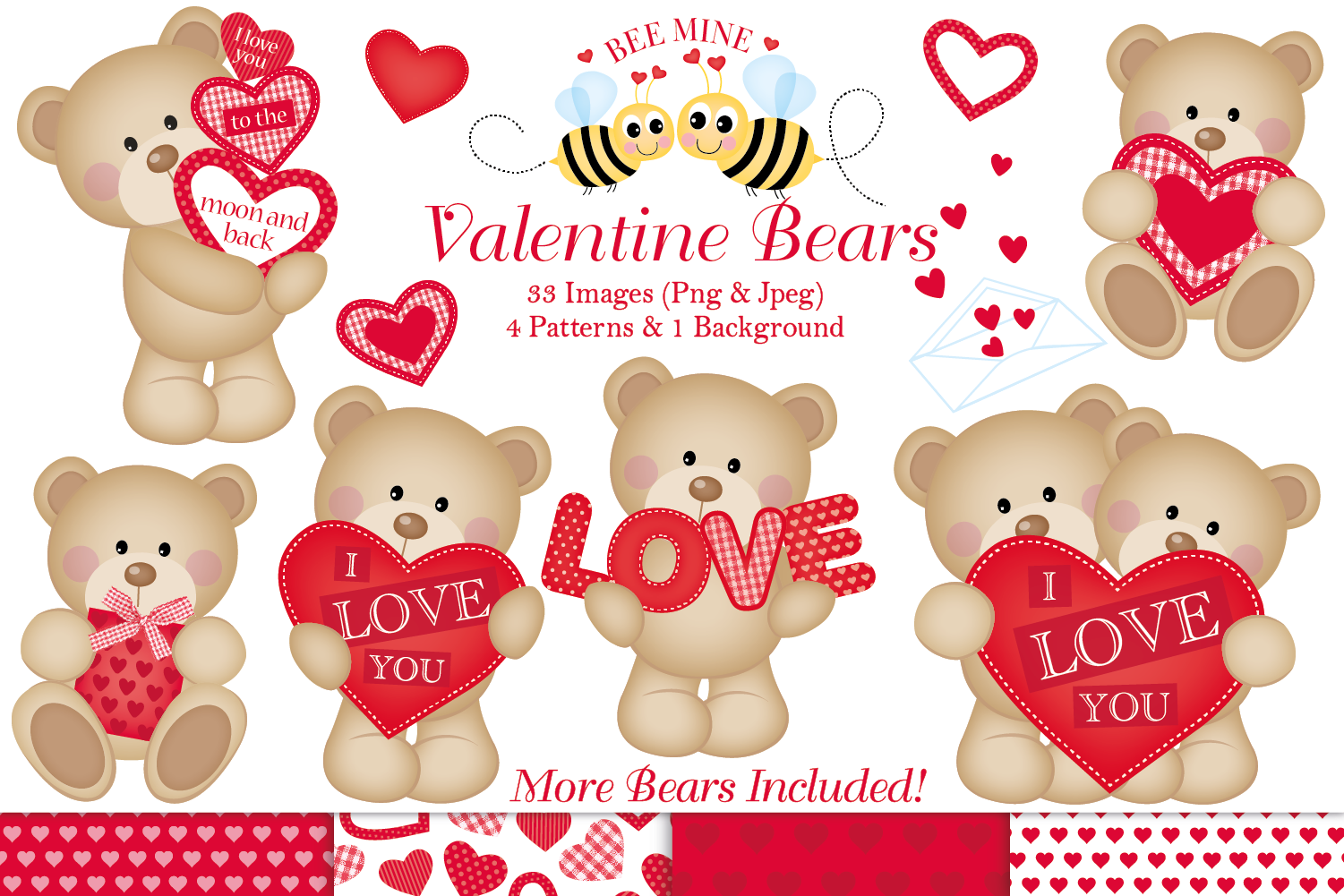 Valentine clipart, Valentine bear graphics & illustrations.