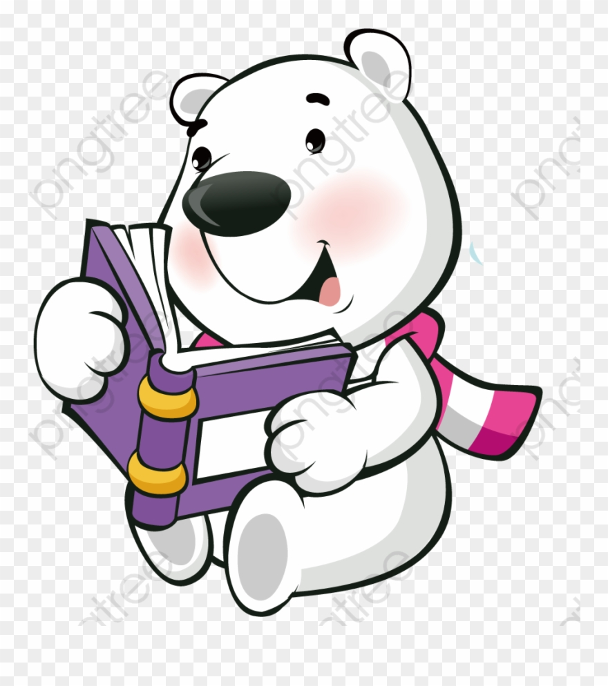 Polar Bear Reading A Book Clipart (#4957517).