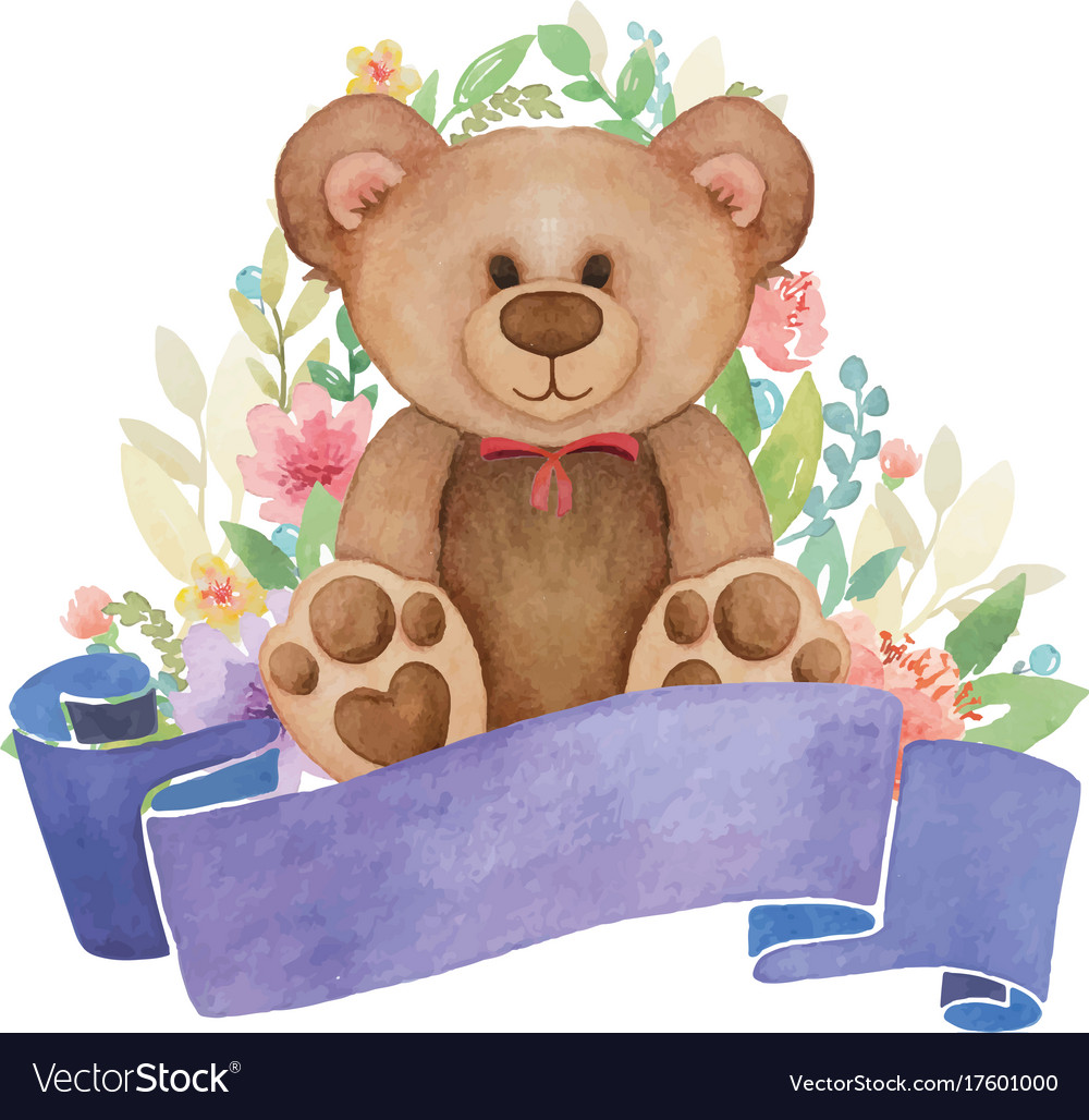 Watercolor toy bear with flower decor and banner.