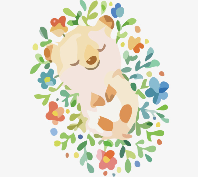 Vector Sleeping In The Flowers Bear Creative, Bear Vector, Vector.