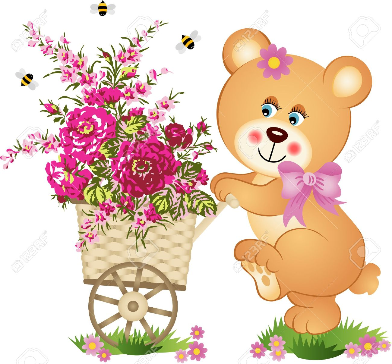 Teddy bear pushing a cart of flowers.