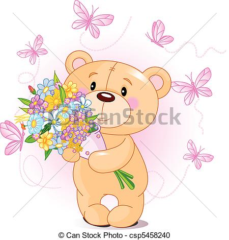 Pink Teddy Bear with flowers.
