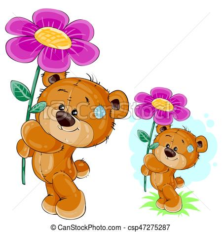 Vector teddy bear holding a pink flower in the paws..