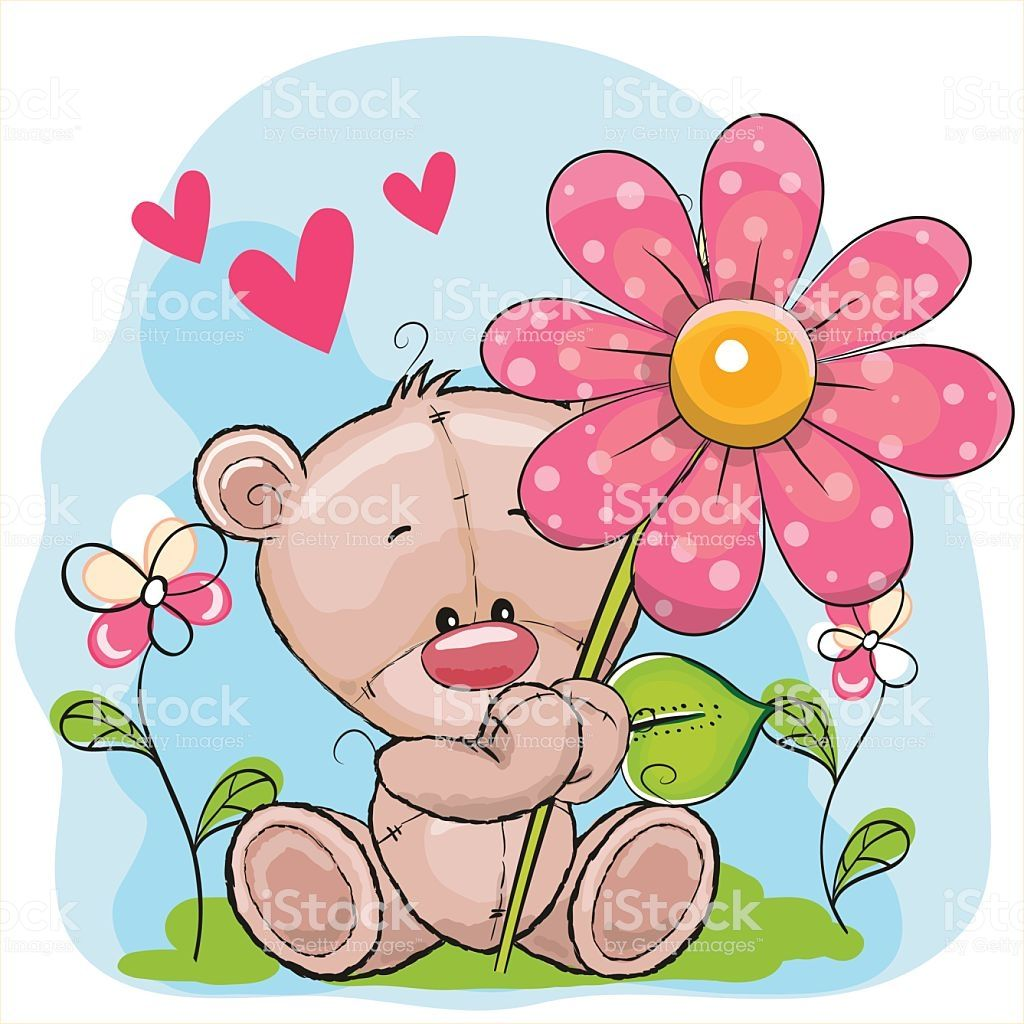 Greeting card Bear with flower and hearts.
