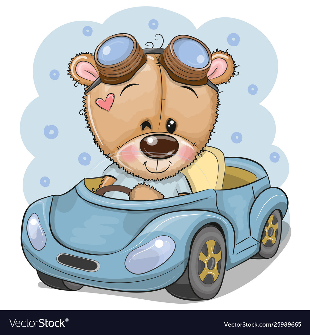 Cartoon teddy bear in glasses goes on a blue car.
