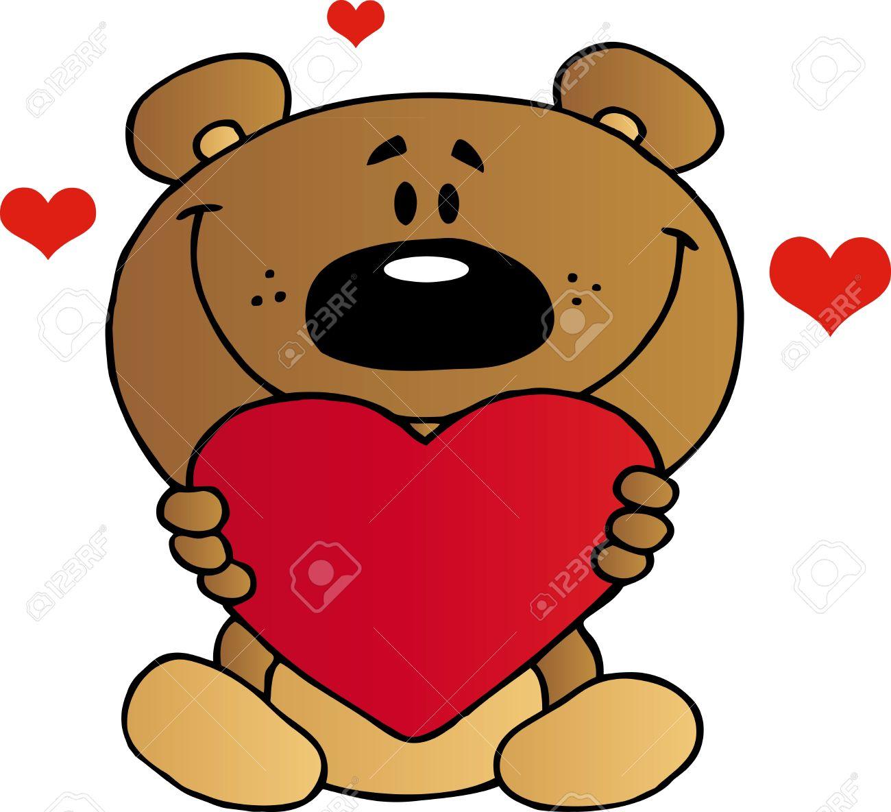 Teddy Bear Holding A Red Heart.