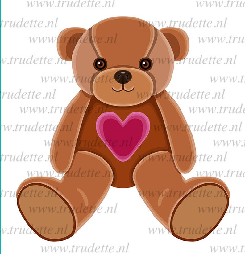 Bear with heart, Clipart Single, commercial use, Love / red heart Clipart /  Digital Clipart , Bear clipart, love clipart, heart, trudette.