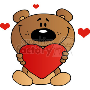 Teddy Bear Holding A Red Heart clipart. Royalty.