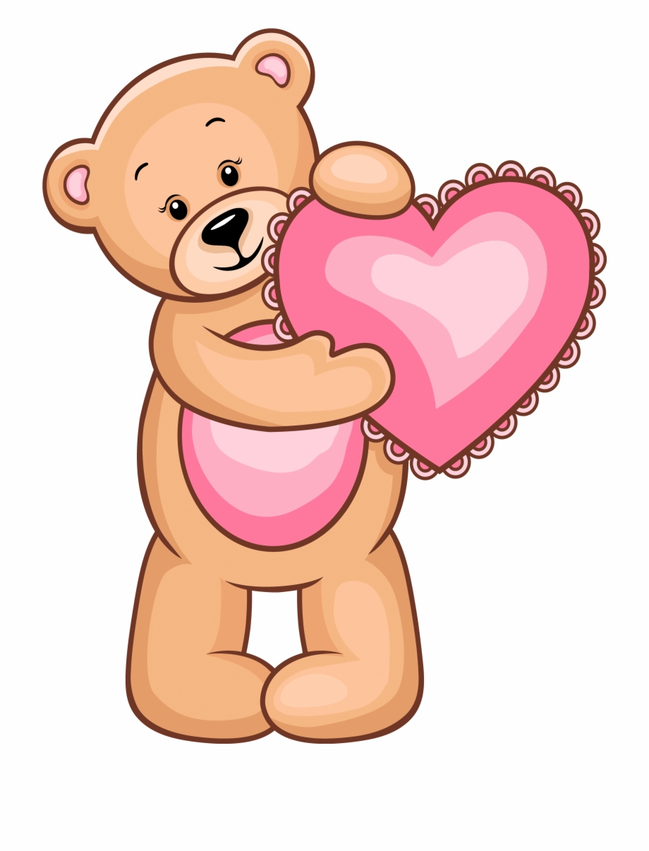 Heart Teddy Bear For Valentines Day Clipart.