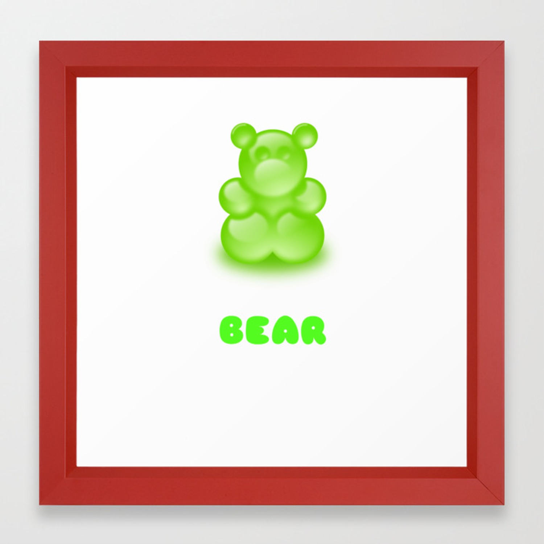 I Am A Bear With No Teeth Cute Gummy Bear Pun Framed Art Print.