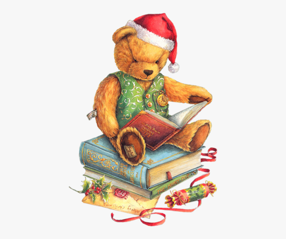 Christmas Teddy Bear With Santa Hat And Books Png.