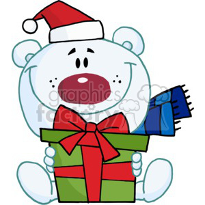 teddy bear holding a Christmas present wearing a Santa Hat clipart.  Royalty.