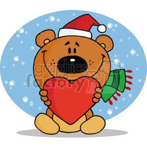 a brown bear in a santa hat holding a red heart clipart. Royalty.