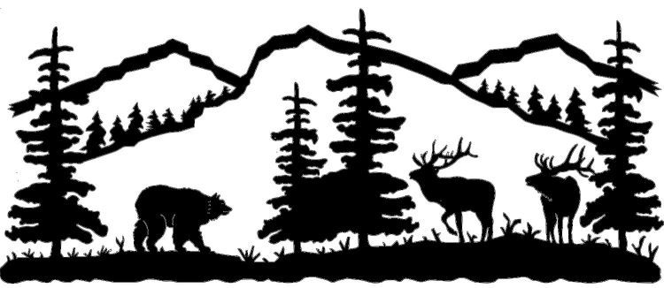 Mountain Scene Bear and Elk Metal Wall Art (Powered by.