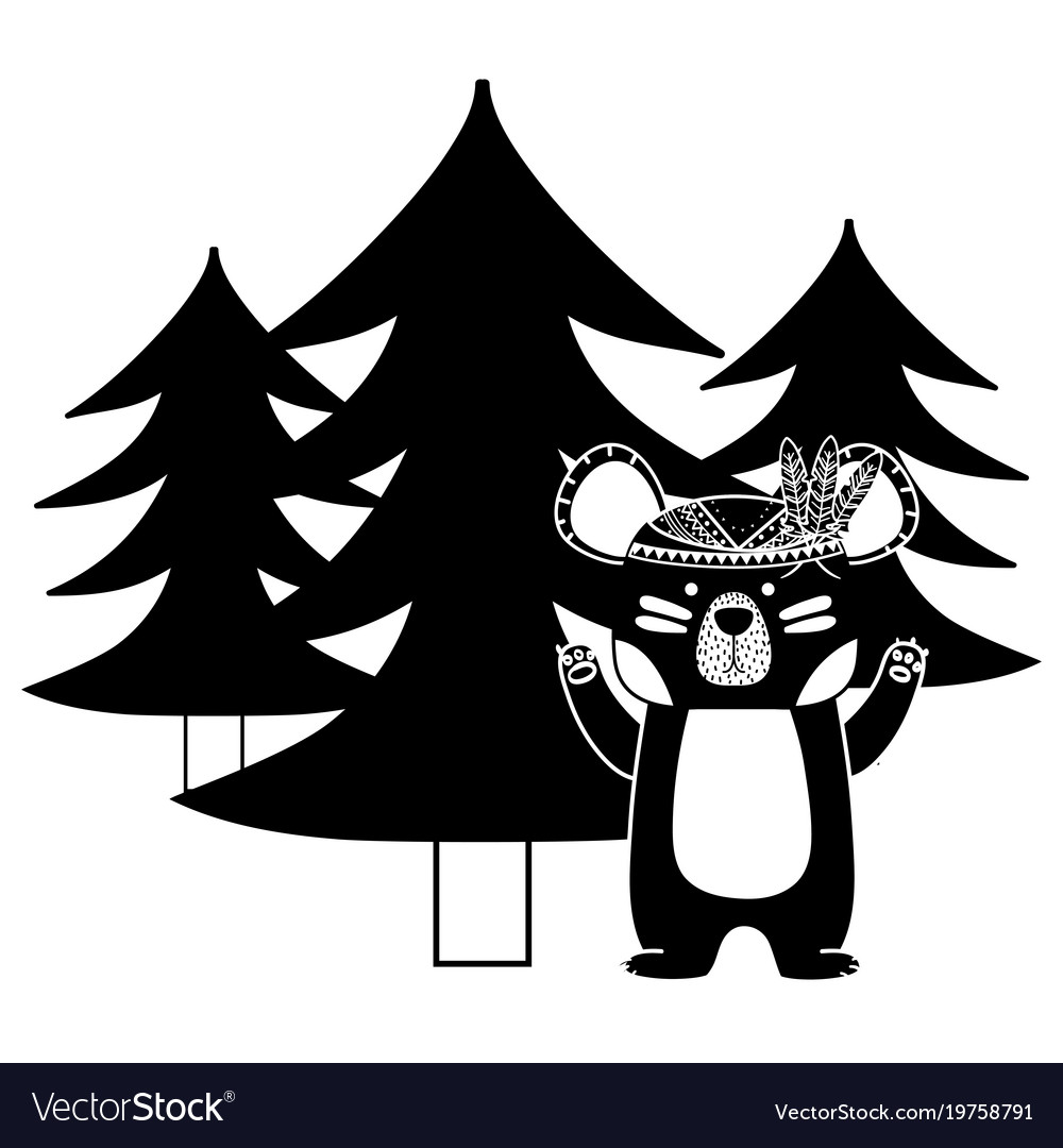 Silhouette ethnic bear animal with pine trees.